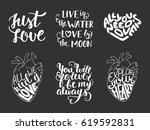 set of vector love romantic... | Shutterstock .eps vector #619592831