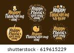 happy thanksgiving  label set.... | Shutterstock .eps vector #619615229