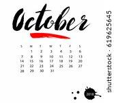 vector calendar for october... | Shutterstock .eps vector #619625645