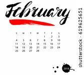 vector calendar for february... | Shutterstock .eps vector #619625651