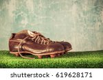 retro outdated soccer or... | Shutterstock . vector #619628171