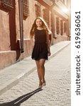 beautiful brunette young woman... | Shutterstock . vector #619636061