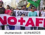 Small photo of Valparaiso, Chile - August 21, 2016: Chileans marched through Valparaiso's streets, demanding an end to the private pension system (AFP) created during the Pinochet dictatorship.