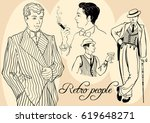 retro men s set  sketch style... | Shutterstock .eps vector #619648271