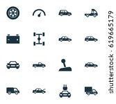 automobile icons set.... | Shutterstock .eps vector #619665179