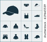 clothes icons set. collection... | Shutterstock .eps vector #619665539