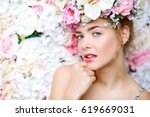 beautiful romantic young woman... | Shutterstock . vector #619669031