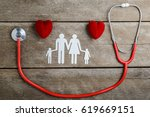 red heart  stethoscope and... | Shutterstock . vector #619669151