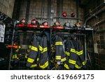 new york firefighters work tool ... | Shutterstock . vector #619669175