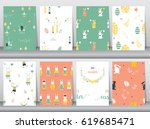 set of seamless background... | Shutterstock .eps vector #619685471
