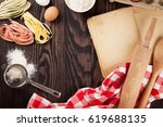 homemade pasta cooking ... | Shutterstock . vector #619688135