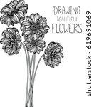 drawing flowers illustration... | Shutterstock .eps vector #619691069