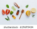 homemade skin care and body... | Shutterstock . vector #619695434