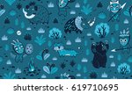 seamless patterns with cartoon... | Shutterstock .eps vector #619710695