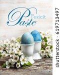 happy easter write in romanian...   Shutterstock . vector #619713497