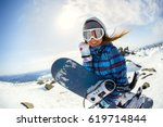 girl snowboarder enjoys the ski ... | Shutterstock . vector #619714844