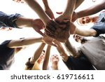 diverse group of people hands... | Shutterstock . vector #619716611