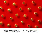 Cherry Tomato Pattern On A Red...