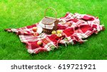 checkered plaid picnic apples... | Shutterstock . vector #619721921