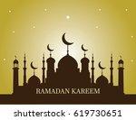 ramadan kareem with mosque... | Shutterstock .eps vector #619730651