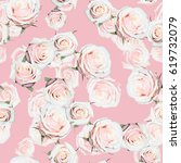 roses pattern gently pink green ... | Shutterstock . vector #619732079