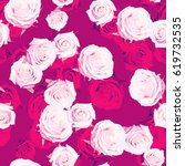 roses pattern gently pink green ... | Shutterstock . vector #619732535