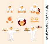 bakers making bread and waiters ...   Shutterstock .eps vector #619737587