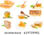 collection of sweet honey... | Shutterstock . vector #619739981