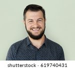 man standing and smiling for... | Shutterstock . vector #619740431