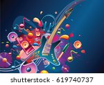 funky colorful musical design | Shutterstock .eps vector #619740737