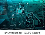 circuit board. electronic... | Shutterstock . vector #619743095