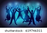 silhouettes of happy people... | Shutterstock .eps vector #619746311