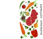 banner of raw food for cooking. ... | Shutterstock . vector #619746455