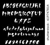 hand drawn dry brush font.... | Shutterstock .eps vector #619747814