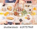 hands of people taking photos... | Shutterstock . vector #619757969