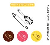 rolling pin with whisk icon.... | Shutterstock .eps vector #619758449