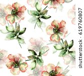 seamless pattern with red... | Shutterstock . vector #619760807