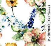 original floral seamless... | Shutterstock . vector #619761131