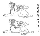 sphinx  mythical creature with... | Shutterstock .eps vector #619766801
