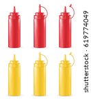 real 3d red and yellow sauce... | Shutterstock .eps vector #619774049