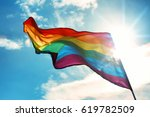 Gay Flag On Sky Background