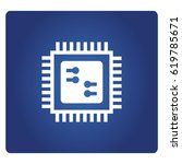 microchip icon in blue... | Shutterstock .eps vector #619785671