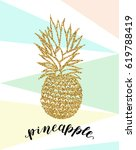 pineapple ink vector gold...