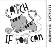 Stock vector cute cat illustration 619790351