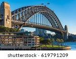 sydney harbour bridge on sunny... | Shutterstock . vector #619791209