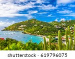 Small photo of Gustavia, Saint Barthelemy skyline and harbor in the Caribbean.