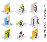 renovation isometric icons set... | Shutterstock .eps vector #619796321