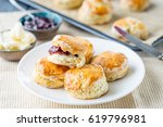 english pastries  scones with... | Shutterstock . vector #619796981