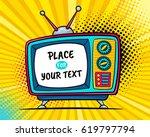 hand drawn comic retro tv set... | Shutterstock .eps vector #619797794