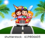 cartoon family vacation | Shutterstock .eps vector #619806605